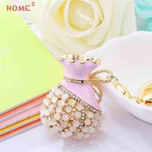 Lady Pendant Car Styling Crystal Bag Keychain Car Keyring for Lexus LADA Chrysler Dacia Abarth Audi Alfa Romeo BMW KIA Fiat(China)