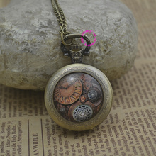 Fashion Movement Pocket Watch Necklace Woman Bronze Round Convex Lens Glass Picture Fob Watches Cute Funny Girl Lady 2016 Hot(China)