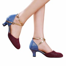 2016 New Sexy Ladies Latin Dance Shoes Ballroom Shoes Woman quality Cow suede Salsa zapatos de baile mujer High Heel 5.5cm  1638
