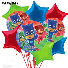 9pcs/lot 18inch PJ Masks Star Foil Balloons Helium Balloons Baby Shower Birthday Party Masks Inflatable Decor Supplies Kids Toys