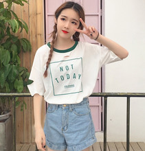 2017 Korean Style Letter Printed All Match Loose Causal Hole Short Sleeve Female T-shirts(China)