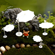 1PC White Sun Umbrella Parasol Mini Craft Miniature Fairy Garden Home Decoration Micro Landscaping Ornament DIY Accessory 4Sizes