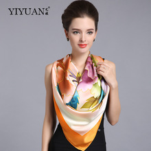 100% Natural Silk Square Scarves Female Top Grade Pure Silk Scarf Shawl Fashion Flower Printed Large Size 110cm x 110cm  SF302