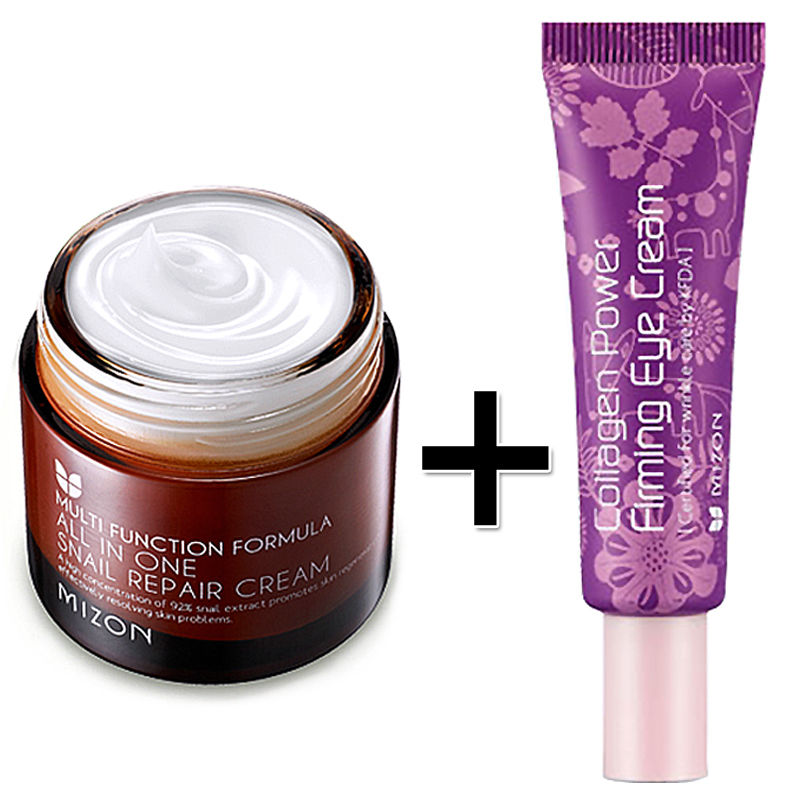 MIZON All In One Snail Repair Cream 75g + Mizon Collagen Power Firming Eye Cream Tube 10ml Face Skin Care Set Korean Cosmetics<br>