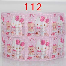 "NEW 50 yards 7/8 "" 22mm cute pink Hello kitty and bear printed grosgrain tape cartoon ribbon hairbow  DIY  112"