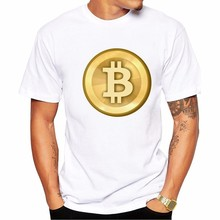 Bitcoin Tee Shirt Homme Short Sleeve Summer Fashion Funny T Shirts Virtual Currency Casual 3XL Tshirt Men(China)