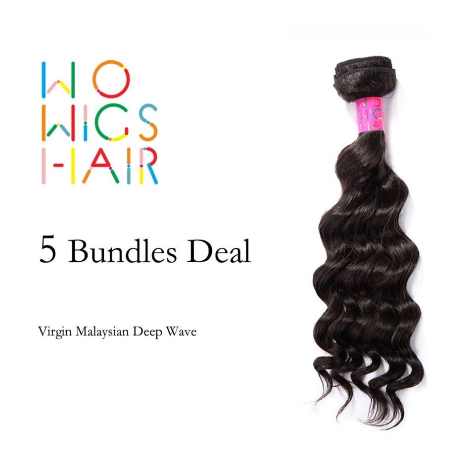 WoWigs Hair Malaysian Virgin Hair Deep Wave 5 Bundles Deal Natural Color 1B<br><br>Aliexpress
