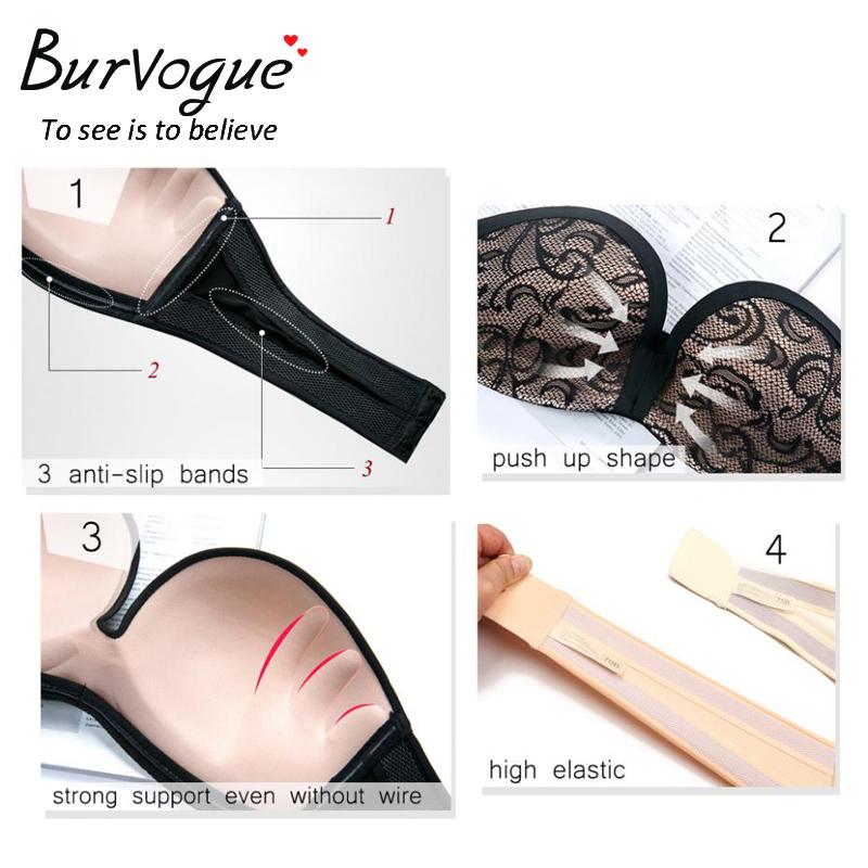 Burvogue Invisible Bra Sexy Strapless Seamless Push Up Bra for Women Underwear Bride Lace Self Adhesive Bras Wedding Brassiere 6