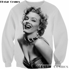 PLstar Cosmos New design 2018 Fashion Men/Women 3D Sweatshirt Sexy goddess Marilyn Monroe print casual Hoodies O-Neck Pullovers(China)