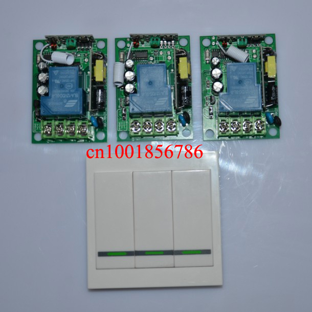 AC85V- 250V 3000W 110V 220V RF Wireless Remote Control 3Pcs switch and 3pole switch For Smart/smatr Home light<br>