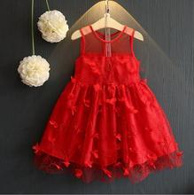 Retail Girl Christmas Dress Toddler Girl Clothing 2017 Summer Girls Red Petal Heart Party Dresses Kids Clothes PH