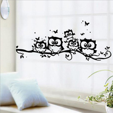 % wall sticker tree animals bedroom Owl Butterfly Wall Stickers home decor living room butterfly for kids rooms vinilos paredes(China)