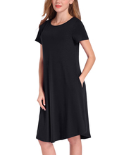 Women Soft Jersey Dress Solid Stretchy Round Neck Short Sleeve Summer Dress 2017 Pockets Midi Casual Party Club Dresses Vestidos