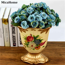 European Fall Vivid Peony Silk Artificial Flowers Fake Leaf Plastic Plants Wedding Home Party Decoration