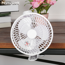 Homgeek Mini USB Fan ventilador Portable with Clip-on Design Stepless Controllable Speed Cooling Clip Fan mini air conditioner(China)