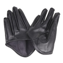 Fashion Hot Lady Woman Tight Half Palm Gloves Imitation Leather Five Finger Black DM#6