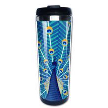 Peacock illustration coffee mug that keeps coffee hot men tazas stainless steel tumbler caneca tea Cups(China)
