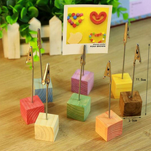 8pcs colorful square wooden card holder photo holder name card holder message card clip wedding decoration party supplies