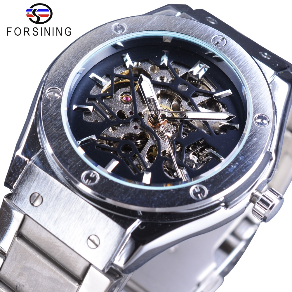 Forsining Steampunk Design High Quality Silver Stainless Steel Men Skeleton Watches Top Brand Luxury Automatic Sport Wristwatch<br>