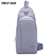 TINYAT Stylish Young Men chest bag Long Pattern Travel Chest Pack Casual Messenger Bag  Blue Packaged with Waist Pack T-605