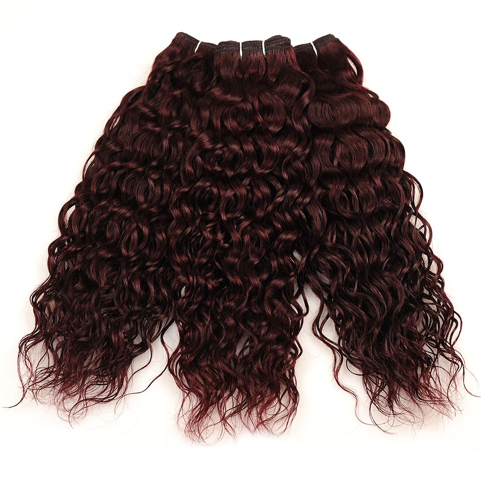 Pinshair Burgundy Brazilian Hair Weave Bundles With Closure Red 4 Pcs Water Wave Human Hair 3 Bundles With Lace Closure Non Remy (176)