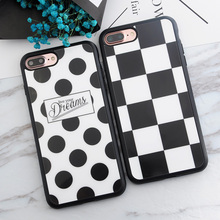 Square Polka Dots Live your Dreams Luxury Mirror Case Soft TPU Case for iphone 5s 5 SE 6 6s 6plus 7 7plus Silicone Phone Cases