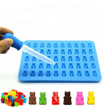2017 Fashion Kitchen Tools Mold 1 Set 50 Cavity Silicone Gummy Bear Chocolate Mold Candy Maker Ice Tray Jelly Moulds