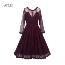 Buy Spring Summer Women New Lace Dress Slim Elegant Sexy Dress Evening Party Womens Vintage O Neck Long Sleeves Lace Dresses for $20.91 in AliExpress store