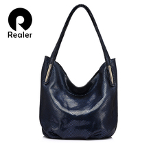 REALER brand handbag women genuine leather shoulder bag female serpentine print large tote bag high quality zipper crossbody bag
