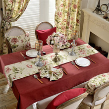 Pastoral Wedding Table Cloths Cotton Linen Tablecloth Home Dining Room Decorative Tablecloths with Floral Table Cloth Runner