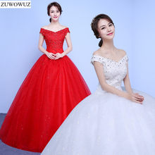 2017 new stock plus size women bridal gown wedding dress white red ball gown  floor length custom hot bling beaded long cheap 049 0ccb14180a60