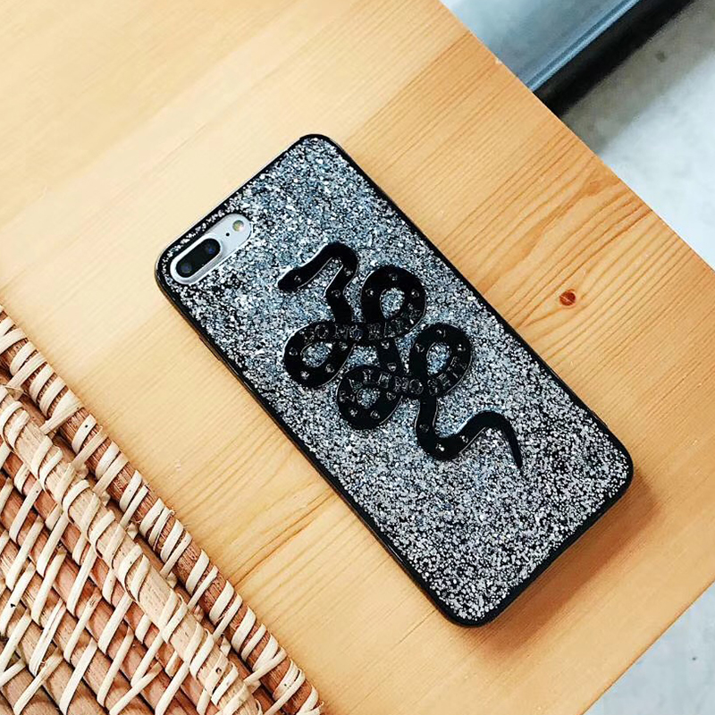 Fashion Snake Animal Brand Silicon Soft Case for iPhone 6 6S plus 7 7plus 8 8plus X 10 Phone Case Glitter Cover Coque Hull (3)