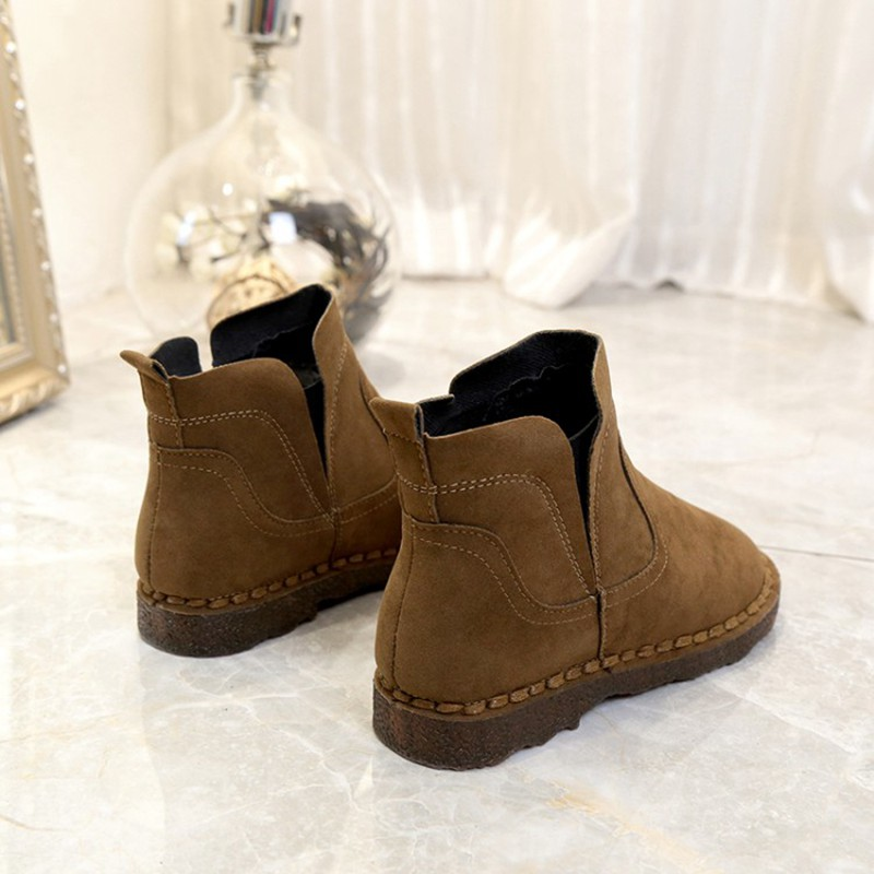 COOTELILI Warm Winter Fleece Ankle Boots For Women Open Toe Pu Leather Snow Boots Fashion  Rubber Shoes Women 35-39 (10)