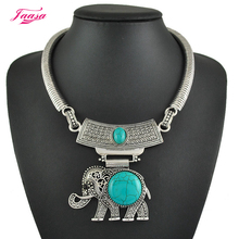 New 2015 Big Fashion Necklace Women chain Shell/stone Vintage Retro Necklace Elephant Chunky Choker Bib statement Necklace(China)