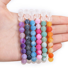 Fashion Design different colors 19cm/lot Weathering White frosted glass beads Bracelet for Material Supplies 6 Colors(China)