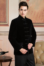Traditional Chinese Tops For Men Black Velvet Jackets Mandarin Collar Single-breased Embroidery Chinese Men Tang Suit Tops(China)