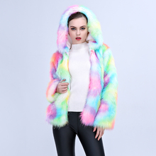 FHILLINUO New 2017 Women Colorful Faux Fox Fur Coat with Hooded Multicolour Long sleeve Artificial Fur Coats Jacket