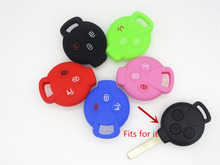 1pc 3 Button Silicone Key Cover Mercedes Benz Smart City Coupe Roadster Fortwo Forfour key Case Cover