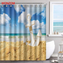 WONZOM Beach Polyester Fabric Sky Sand Shower Curtain Scenery Bathroom Decor Waterproof Cortina De Bano With 12 Hooks Gift 2017