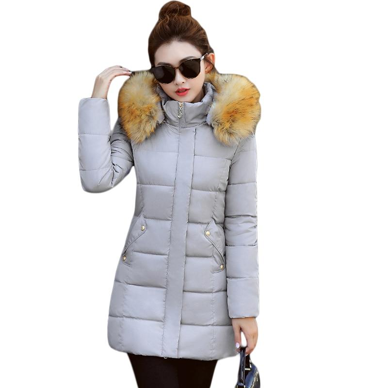 Snow Wear Wadded Jacket Female 2017 Autumn Winter Women Medium-long Slim Cotton-padded Jacket Outerwear Winter Coat Women CM1738Îäåæäà è àêñåññóàðû<br><br>