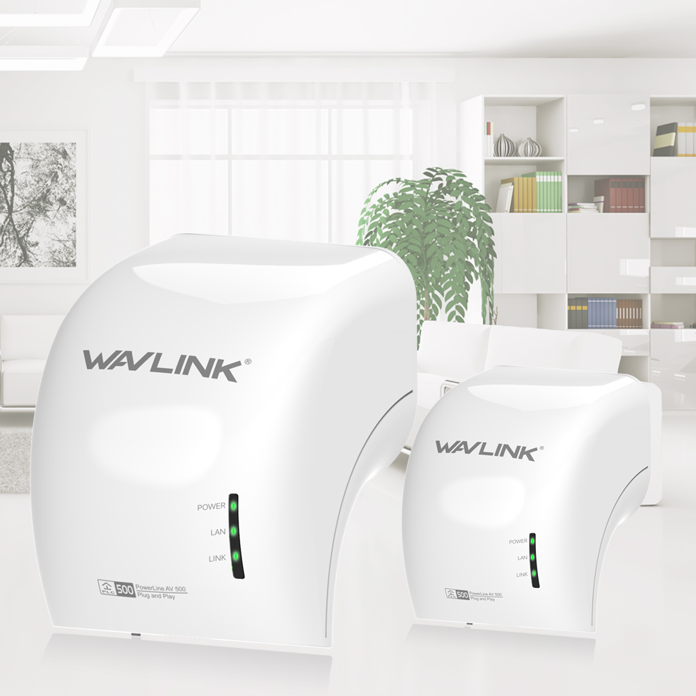 Wavlink 500Mbps Power line ethernet adapter extender High-speed Mini plc homeplug network Powerlines PLC Adapter kit AV500 EU/US<br>