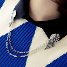 Hot Selling Retro Crystal Angel Wings Brooch Collar Pin Double Layering Chain Brooches Pins  For Women Broche