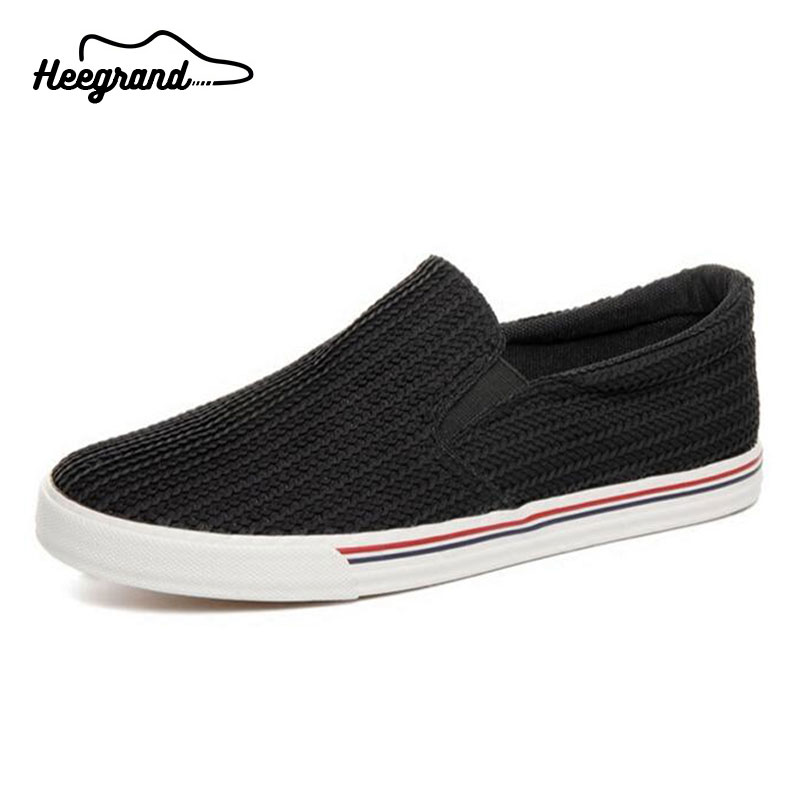 HEE GRAND Soft Breathable Men Shoes Unique Knitted Canvas Shallow Slip-on Flat with Loafers Shoes for Man XMF528<br><br>Aliexpress