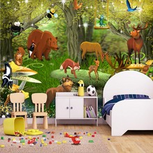 Custom photo wallpaper Forest mobilization animal kingdom cartoon children's room decoration backdrop mural wallpaper(China)