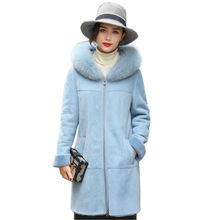 2017 Graceful Sky Blue Double-faced Fur Hooded Coat Womens Genuine Merino Sheep Leather Long Parka Winter Warm Overcoats LX00926(China)