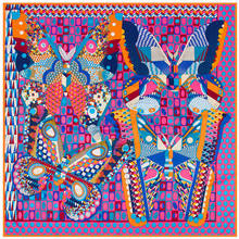 130cm*130cm 100% Pure Silk Euro Brand Style Women Geometric Dot Colorful Butterfly Silk Square Scarf Femal Fashion Shawls