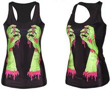 new women shirt Painting Cool Pattern 3D Skull bone Camisole Sexy print Vest Tanks Tops Drop shipping(China)