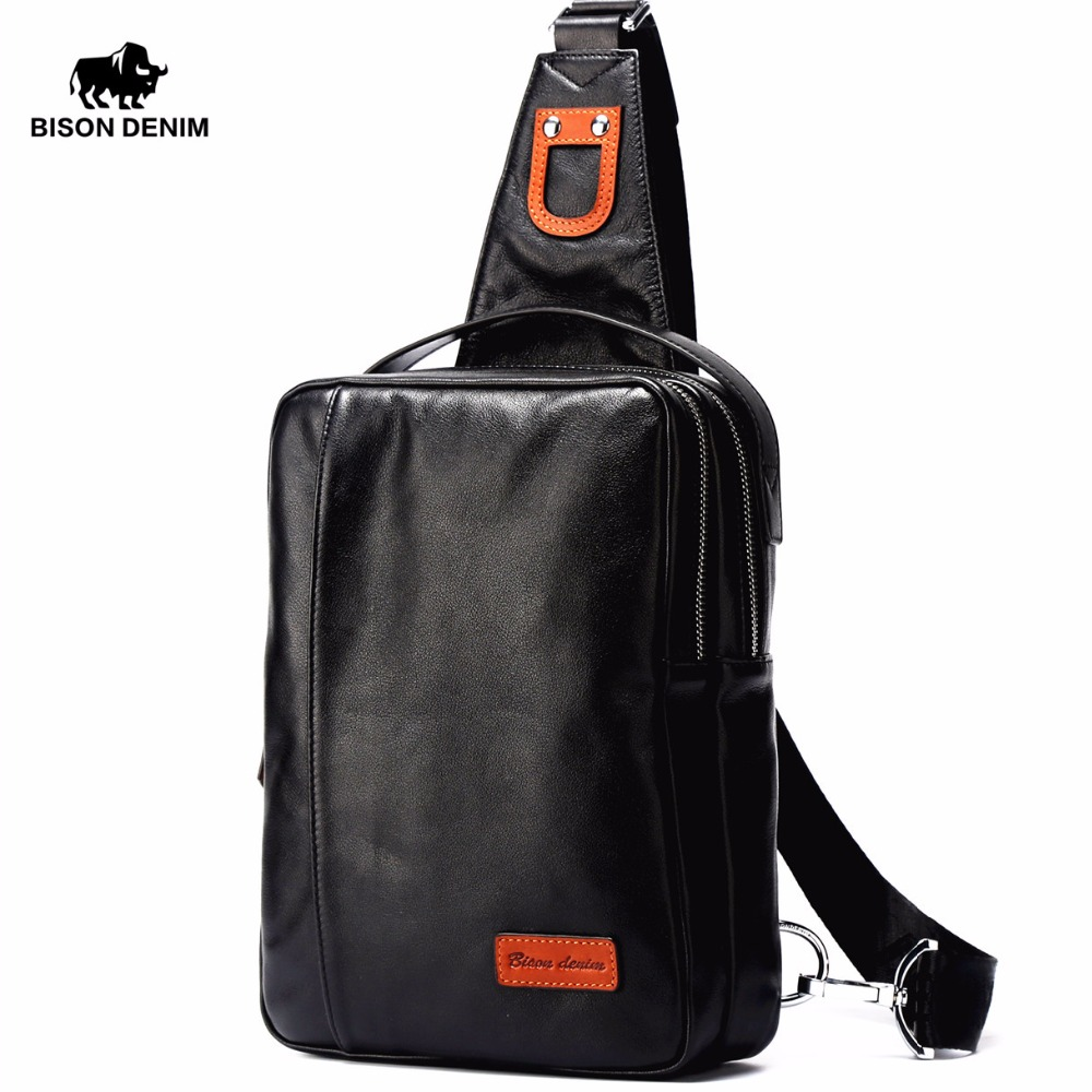 BISON DENIM Small Chest Bag Genuine Leather Ipad ProMens Crossbody Bags Black Soft Cowhide Casual Chest Sling Bag For Male N2425<br>