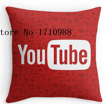 Cool Pillow cases YouTube Full Logo - Full White on Pattern Red Luxury Printing Square Zippered Pillowcase free shipping(China)