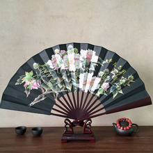 New Men Vintage Pocket Folding Fan Chinese Style Lotus Flower Pattern Silk Bamboo Folding Hand Fan 1PCS(China)